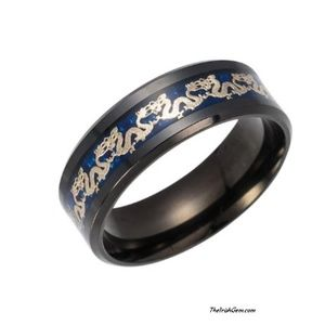 Other - Black Titanium Steel Celtic Dragon Band Ring
